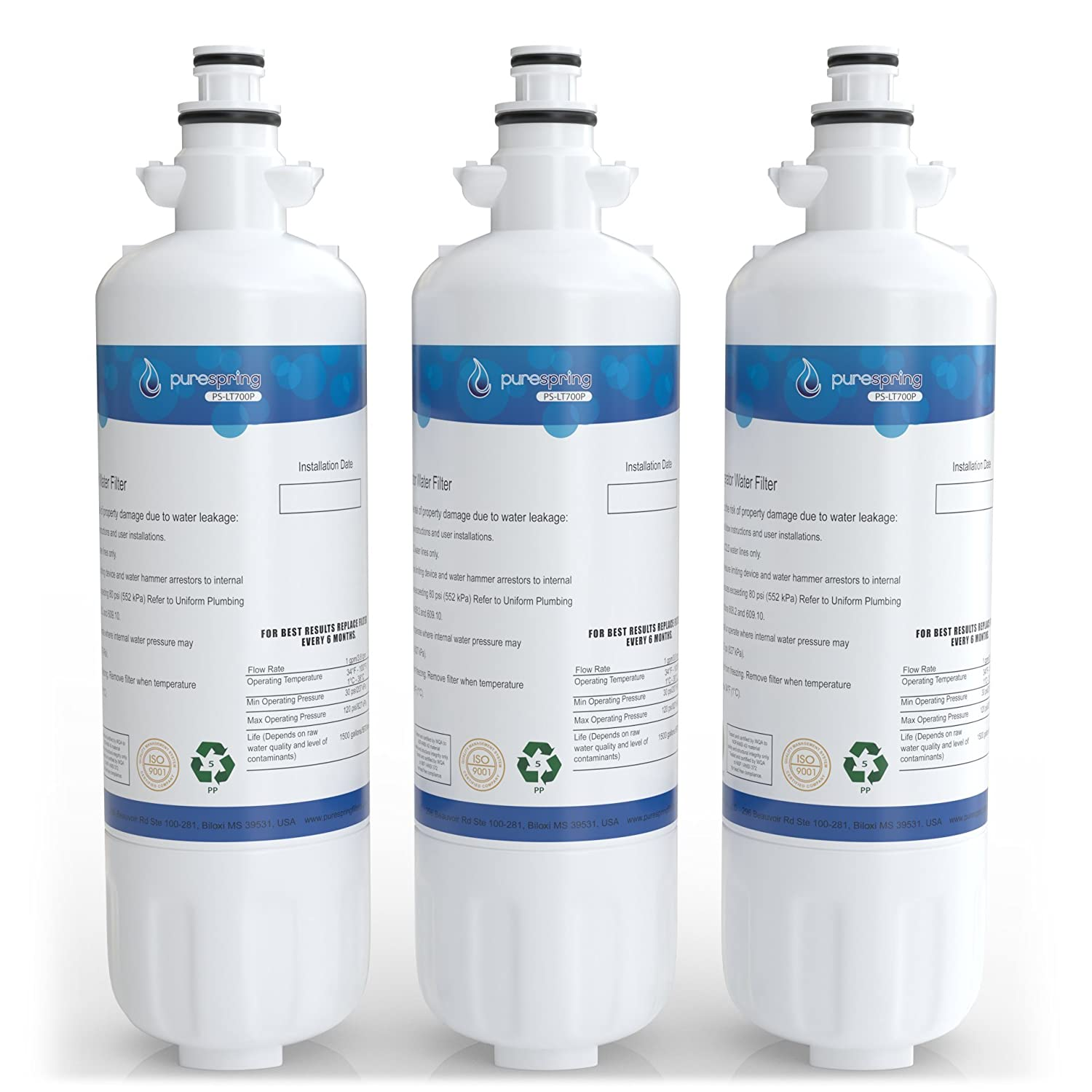 PureSpring LT700P Replacement Refrigerator Water Filter, Compatible with LG LT700P, ADQ36006101, ADQ36006102, Kenmore 46-9690, 469690 (3 Pack)