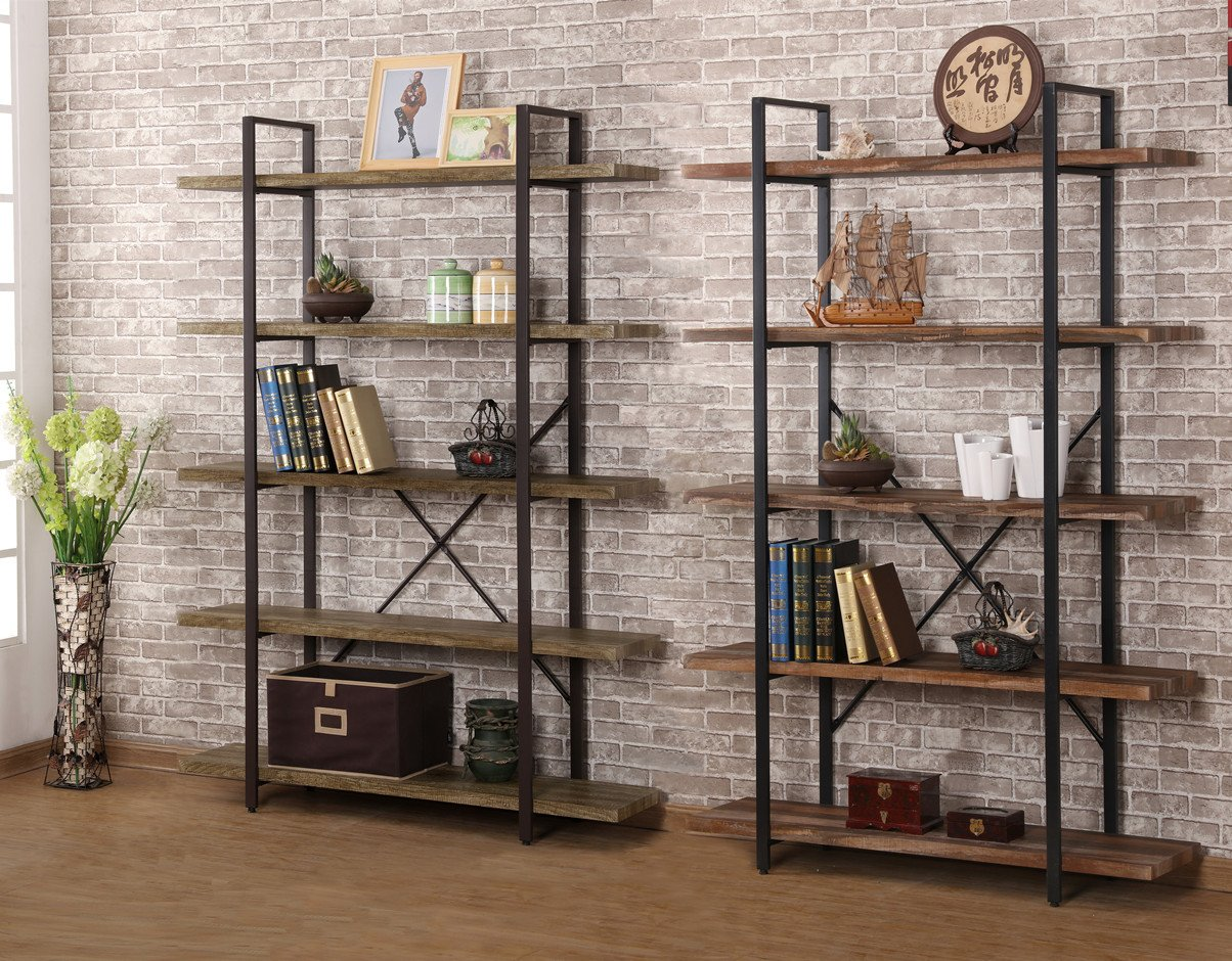 Amazon: O&K Furniture 5-Shelf Industrial Style Bookcase And Shelves,  Free Standing Storage Shelf Units: Kitchen & Dining
