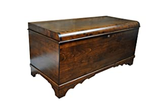 "Amish Cedar Chest, Waterfall Top, 46"" Long with Lock and Key Made in Brown Maple Wood with an Asbury Stain"