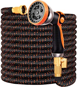 Expandable Garden Hose 75FT Water Hose with 10 Function Nozzle and Durable 4-Layers Latex, Extra Strength 3750D Flexible Hose with 3/4