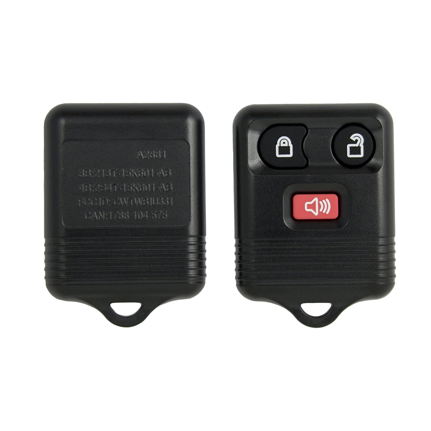 SHELL ONLY Keyless2Go New Replacement Shell Case and 3 Button Pad for Remote Key Fob with FCC CWTWB1U345 CWTWB1U331