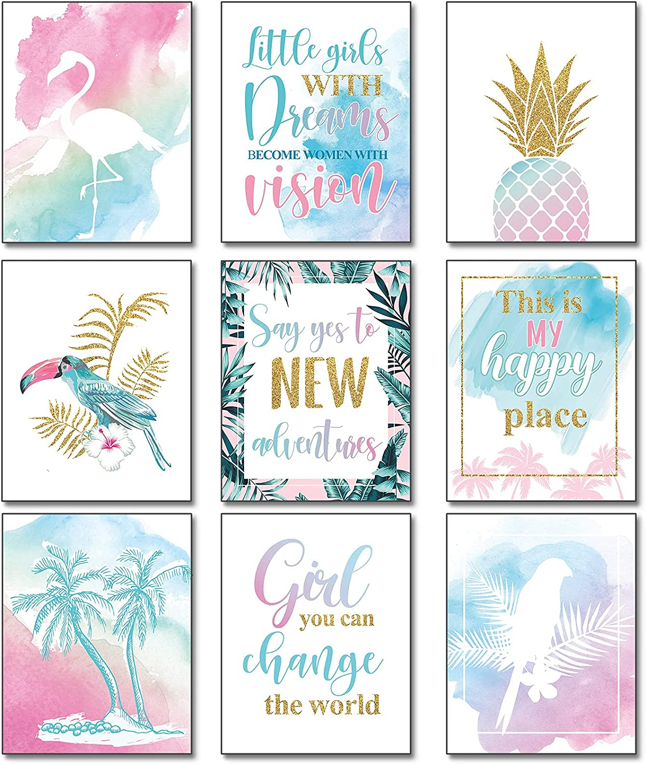 9 Pieces Inspirational Teen Girl Room Wall Decor Wall Art Prints Abstract Inspirational Wall Art Motivational Quotes Posters for Women Bedroom Living Room Kitchen Office, Unframed