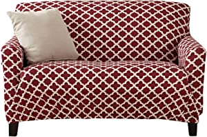 Printed Twill Love Seat Slipcover. One Piece Stretch Loveseat Cover. Strapless Love Seat Cover for Living Room. Fallon Collection Slipcover. (Love Seat, Burgundy)