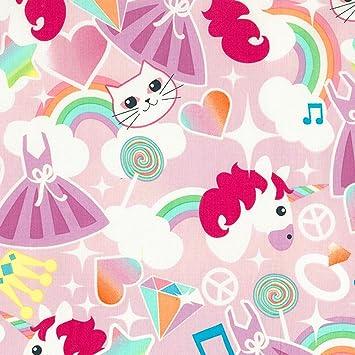 Tela 100 % algodón con diseño de unicornios, gatos y de arco iris, 50 x 150 cm: Amazon.es: Hogar