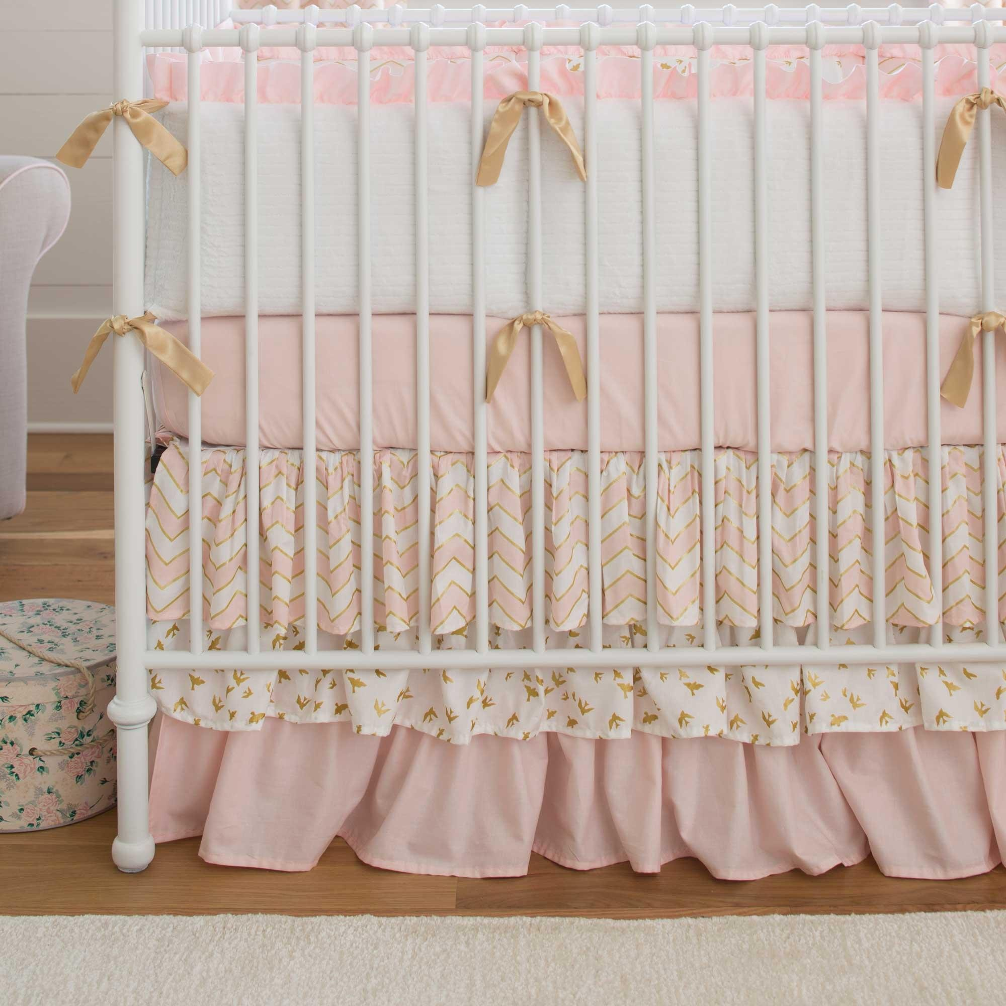 Carousel Designs Pale Pink and Gold Chevron Crib Skirt Three Tier 18-Inch Length