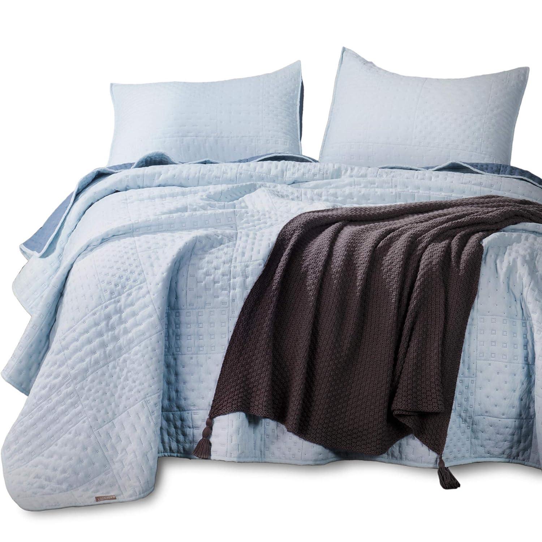 Kasentex Quilted Coverlet Mini Set - Best Lightweight Blanket - Super Soft - Reversible, Twin + 2 Shams, Sky Blue/Indigo Light KXW1802-BB