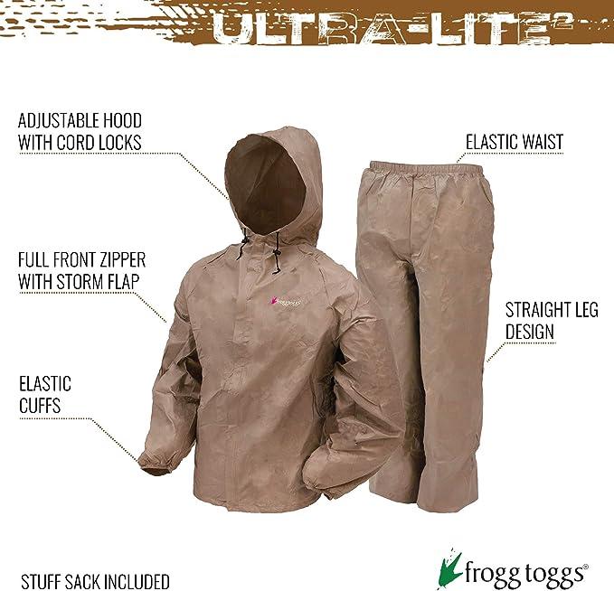 Frogg Toggs Ultra Lite 2 Rain Suit w// Storage Bag GREEN UL12104-09 CHOOSE SIZE