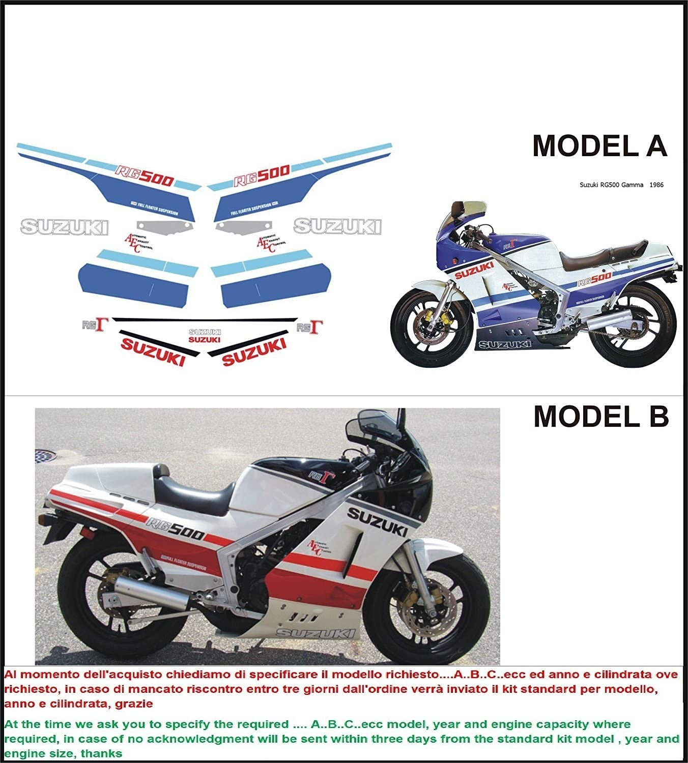 Geben Sie Model A oder B Emanuel /& Co Kit adesivi Decal stikers Suzuki RG 500 Gamma 1986