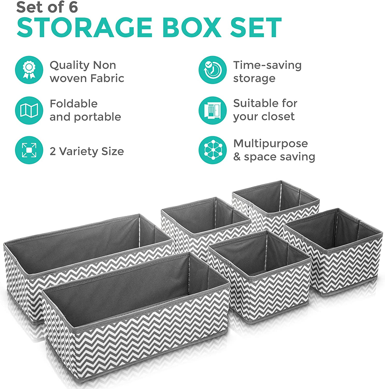 Light Grey Set of 6 Canvas Fabric Storage Box Wardrobe Organiser Drawer Organiser Socks Ties FiNeWaY Suitable for Dressers Drawers and Wardrobes Flexible Storage Cubes Boxes