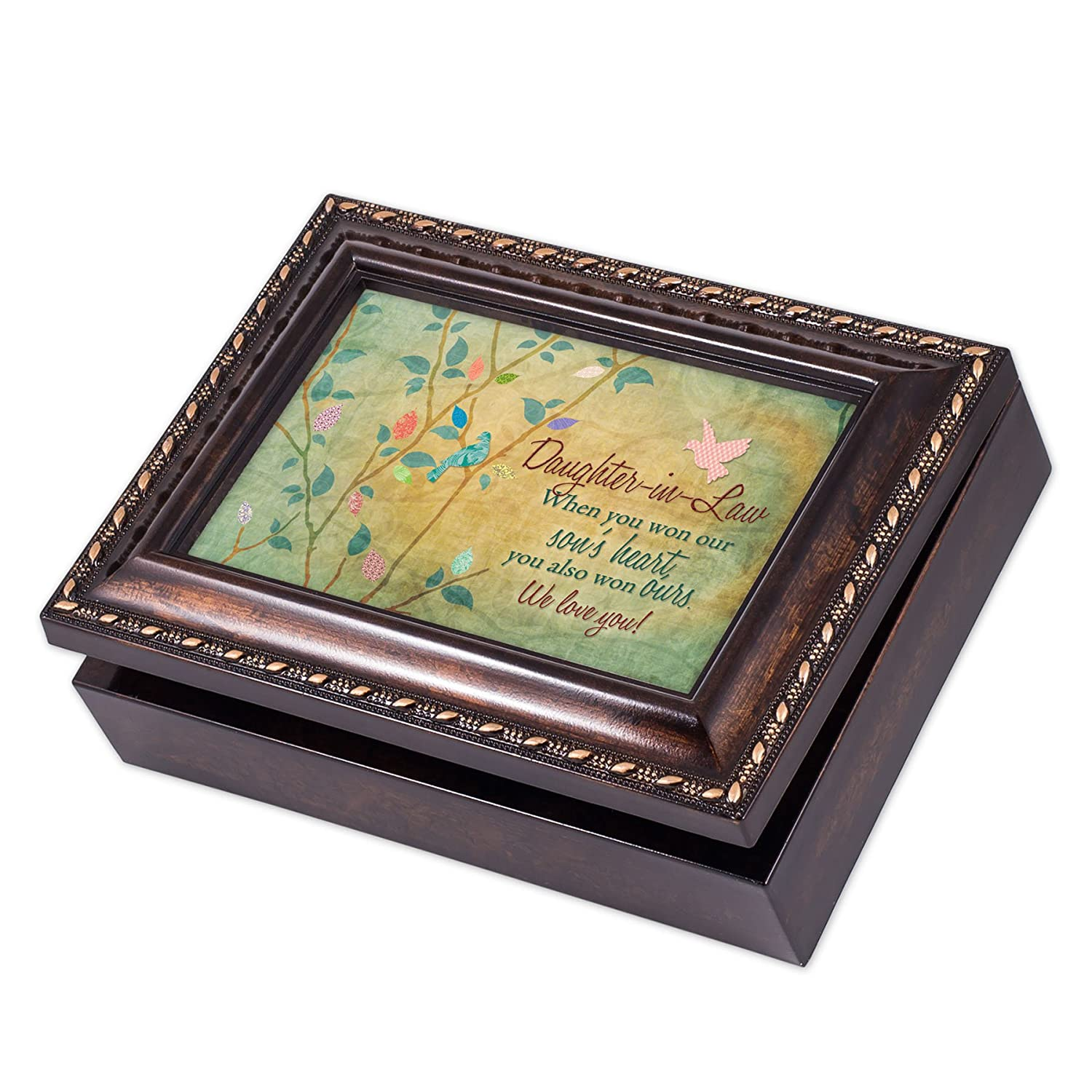 Plays Tune Pachelbels Canon in D Cottage Garden Daughter-in-Law We Love You Rich Burl Wood Finish Jewelry Music Box