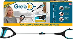Grab It | Ratcheting, Grabber, Reaching Aid, Grabbing, Reaching, Pick Up Tool | Rotating Grip, Lift Up to 5 lbs, LED Light, Built in Magnet and Jewelry Hook