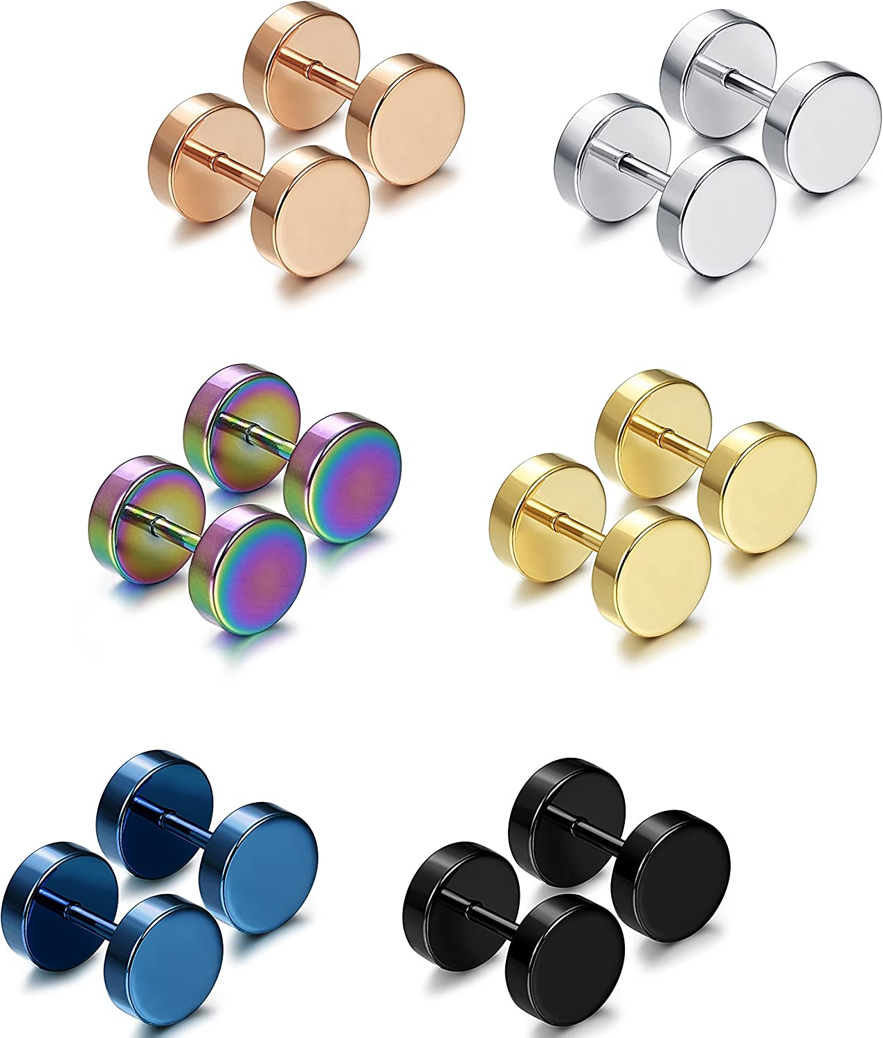 Jstyle Jewelry 6 Pairs Stainless Steel Mens Womens Stud Earrings Ear Plugs Tunnel