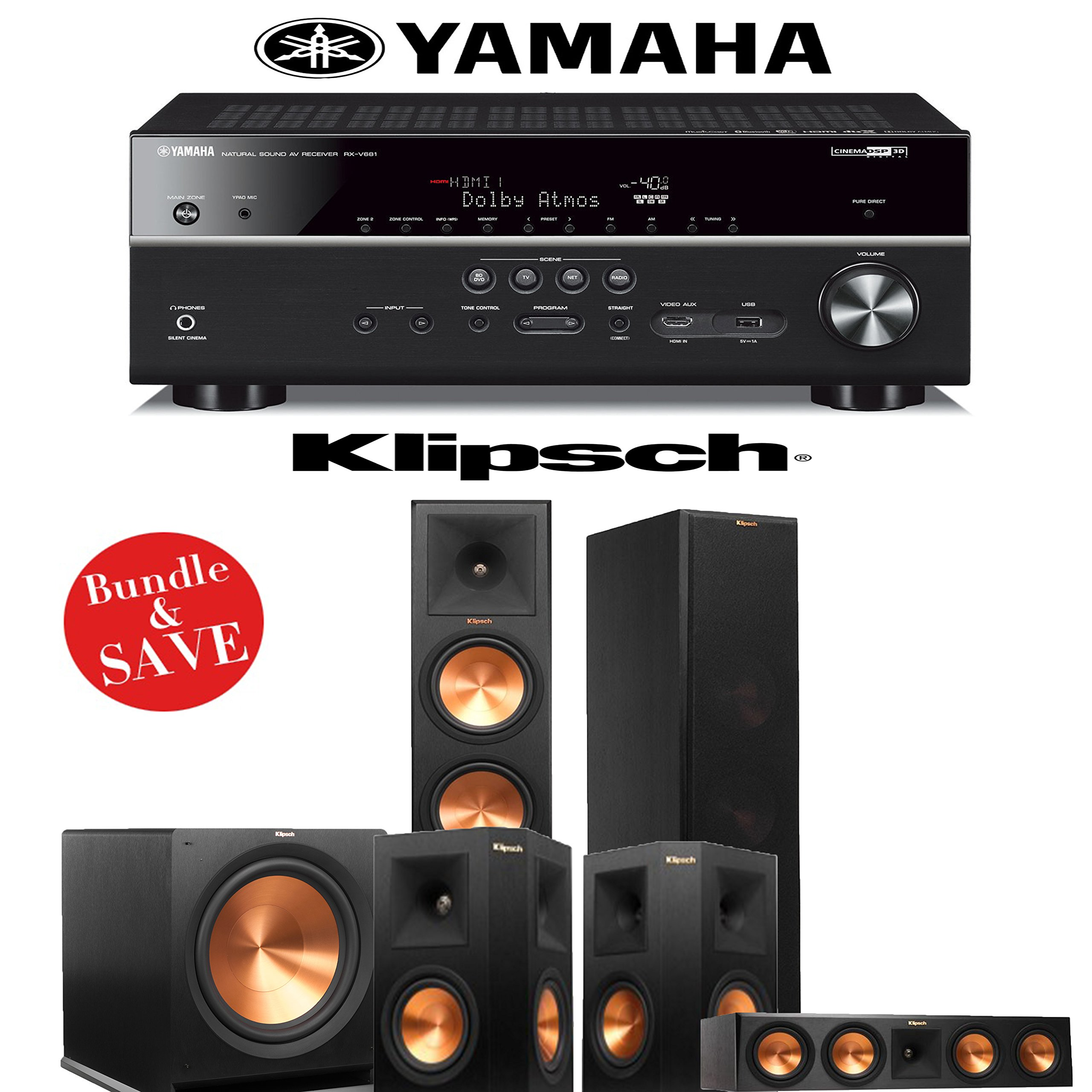 Klipsch RP-280F 5.1 Reference Premiere Home Theater System with Yamaha RX-V681BL 7.2-Channel A/V Receiver by Klipsch