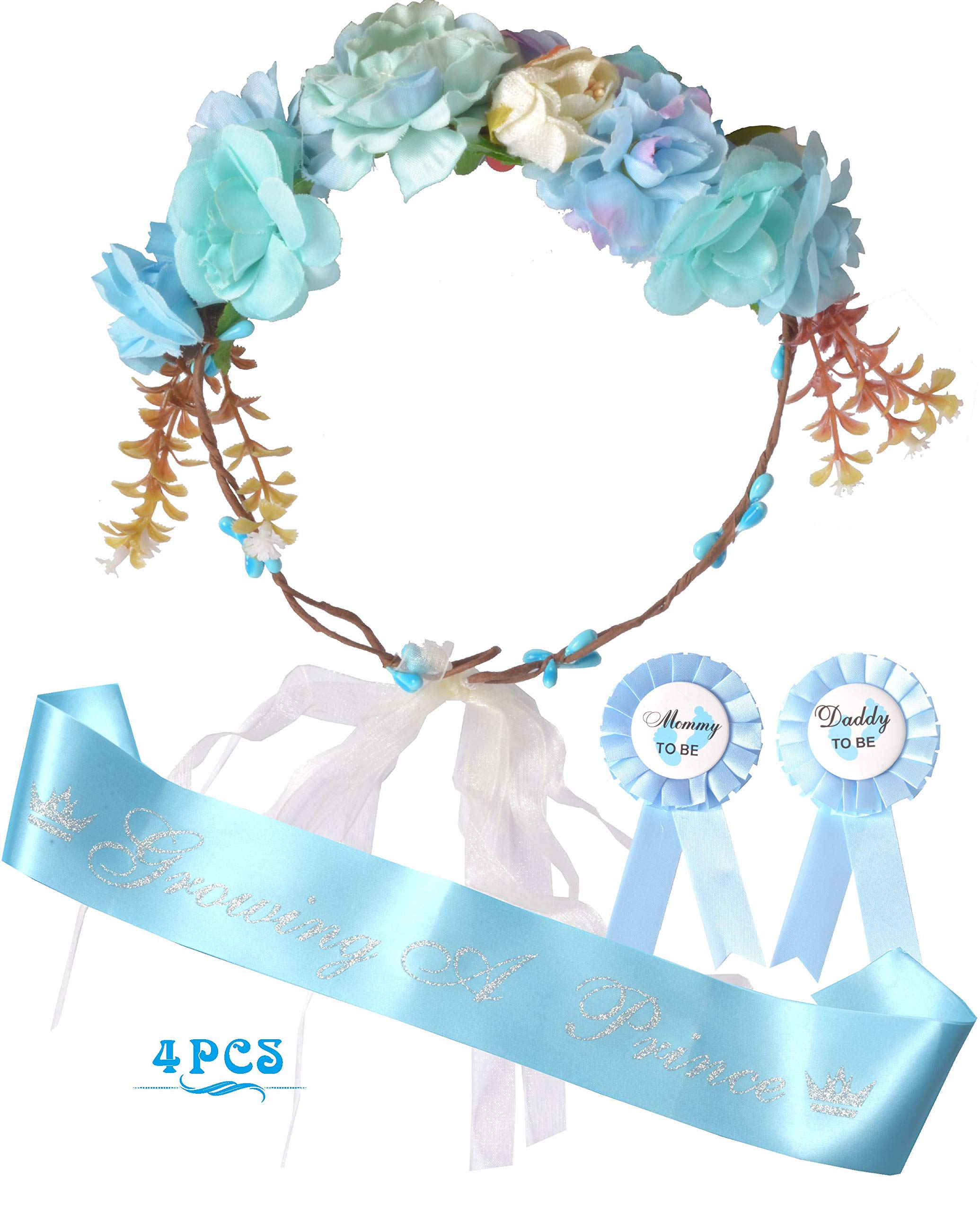Mother To Be Flower Crown Blue | Growing a prince Sash and Mom to be Pin | Dad To Be Pin | Blue Baby Shower Party Favors Decorations Gift for Boy