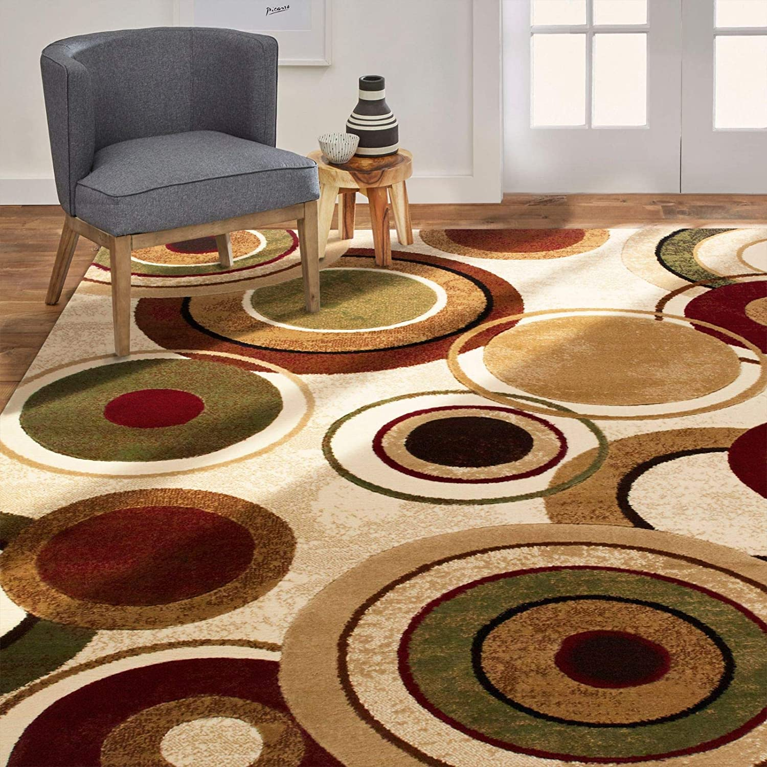 "Home Dynamix Emmitt Modern Area Rug, 39""x55"", Geometric Ivory/Green/Red"