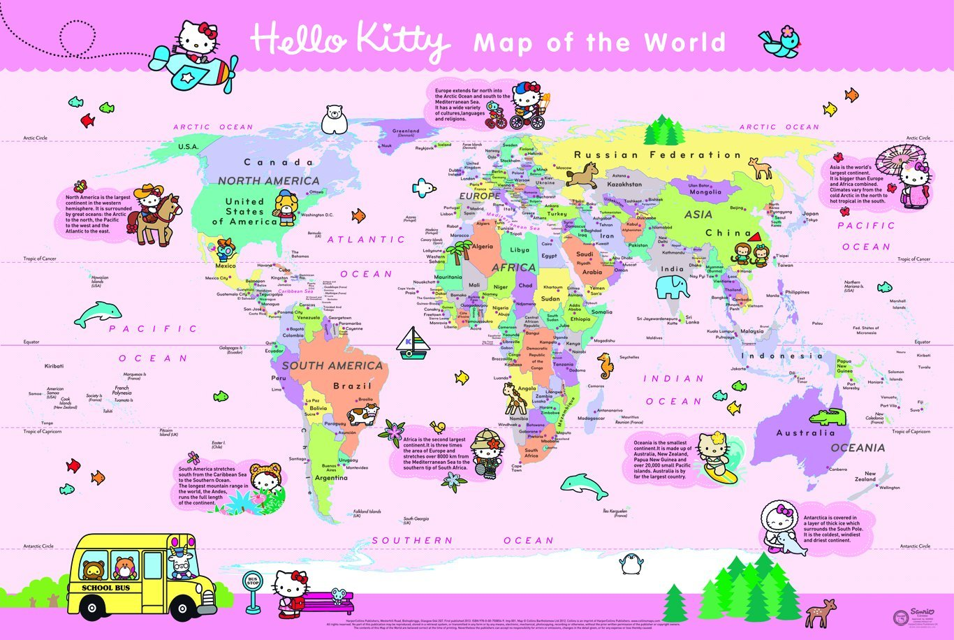 Hello kitty map of the world 9780007508549 amazon books gumiabroncs Gallery