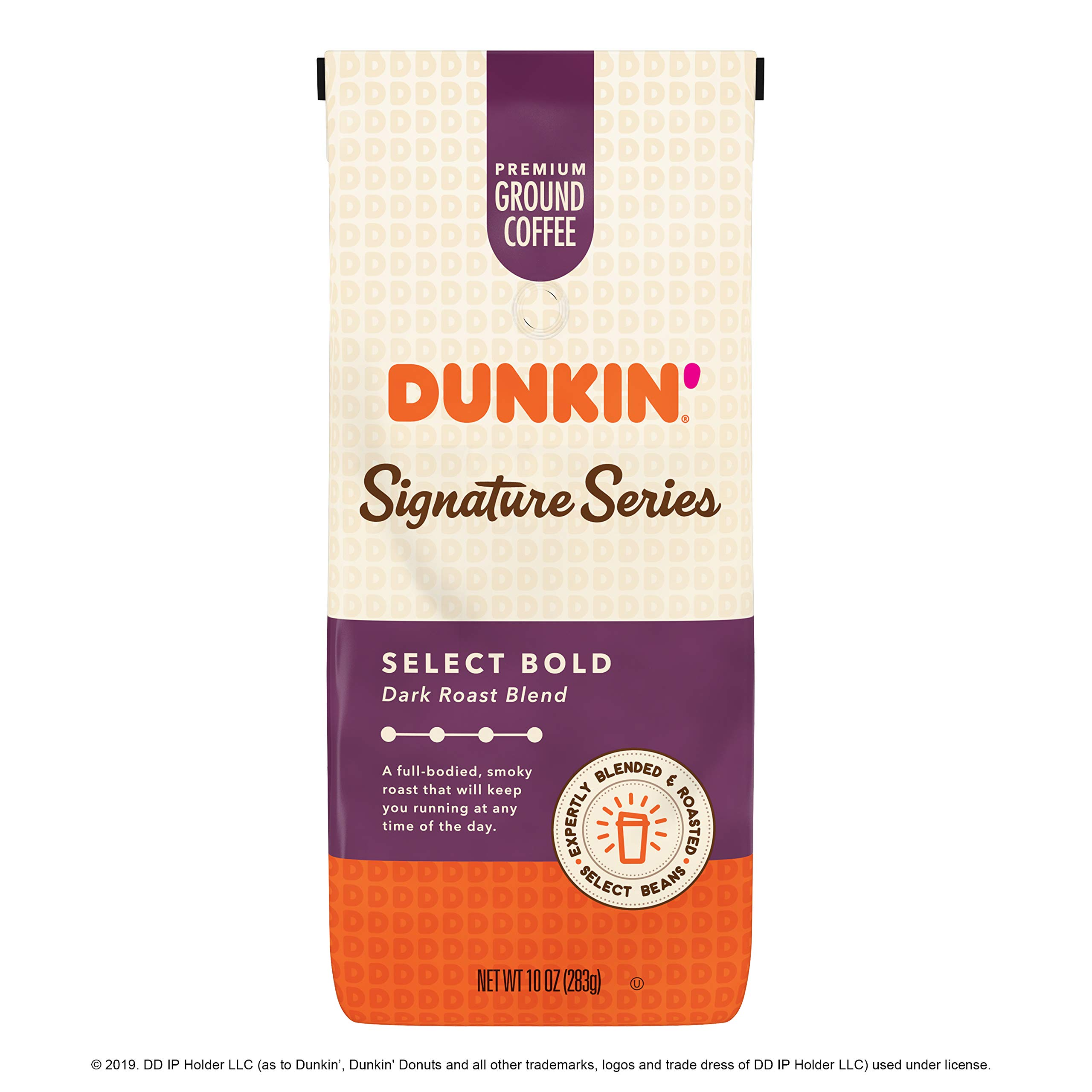 Dunkin' Donuts Signature Series Select Bold Dark Roast Blend Ground Coffee, 10 Ounces (Pack of 6)
