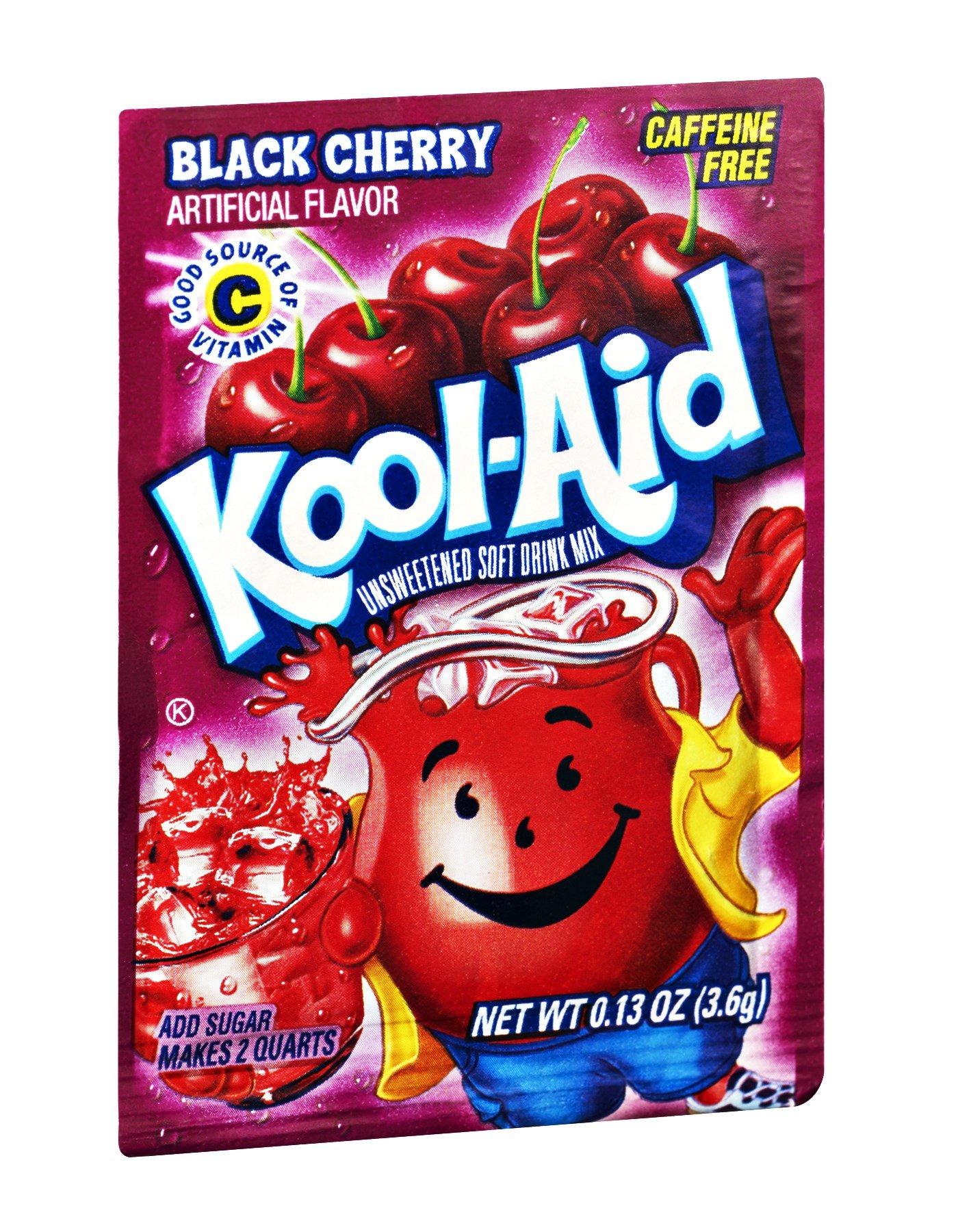 Kool-Aid Black Cherry Caffeine Free Unsweetened Soft Drink Mix, 0.13 OZ (Pack of 192)