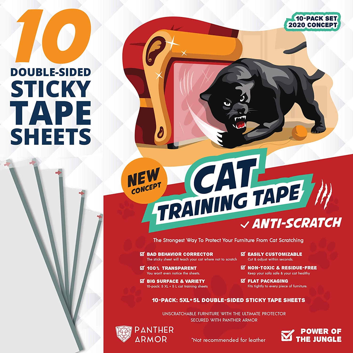 Panther Armor 10 Ten Pack Cat Scratch Deterrent Tape Double Sided Anti Cats Scratching Sticky Tape 5 Pack Xl 16 L 12 W 5 Pack Large 17 L 10 W Furniture Protectors Clear Training