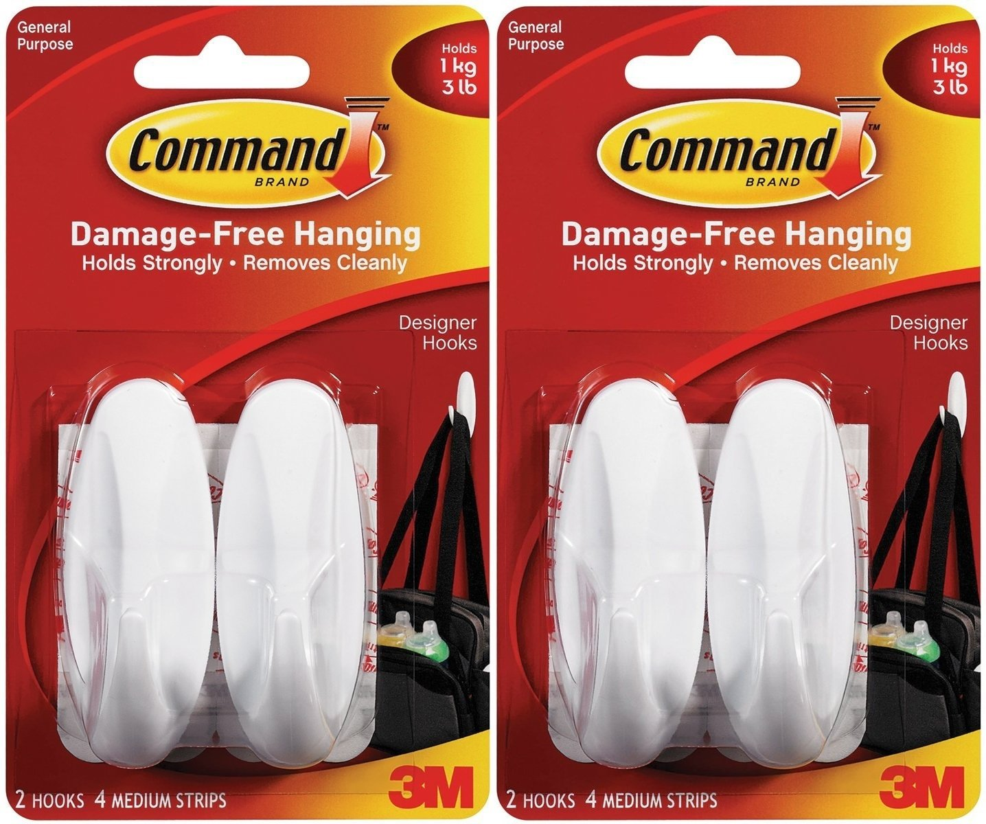 Command Designer Hooks BP1PTF Medium White 4 Hooks