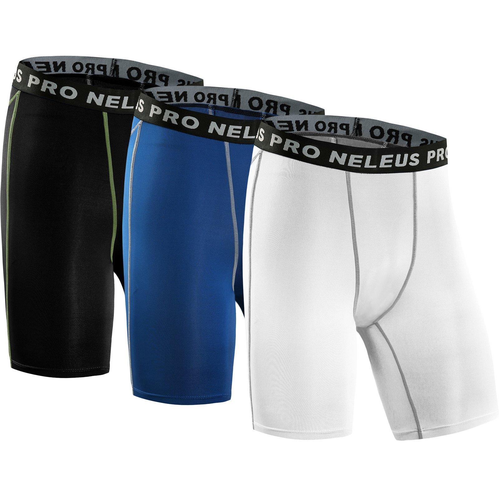 Neleus Men's 3 Pack Compression Short,047,Black,Blue,White,US S,EU M by Neleus
