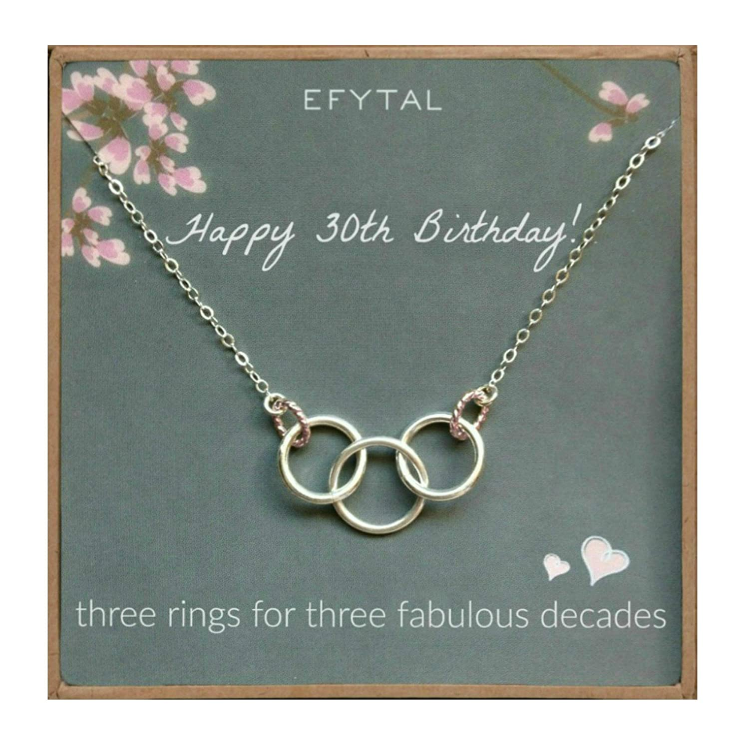 Amazon EFYTAL Happy 30th Birthday Gifts For Women Necklace Sterling Silver 3 Rings Three Decades Necklaces Gift Ideas Jewelry