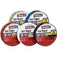 Tesa Iso Tape 10m x 15mm Iso Tape (5-pack / 5 kleuren - Blauw, Rood, Zwart, Groen / Geel & Wit)