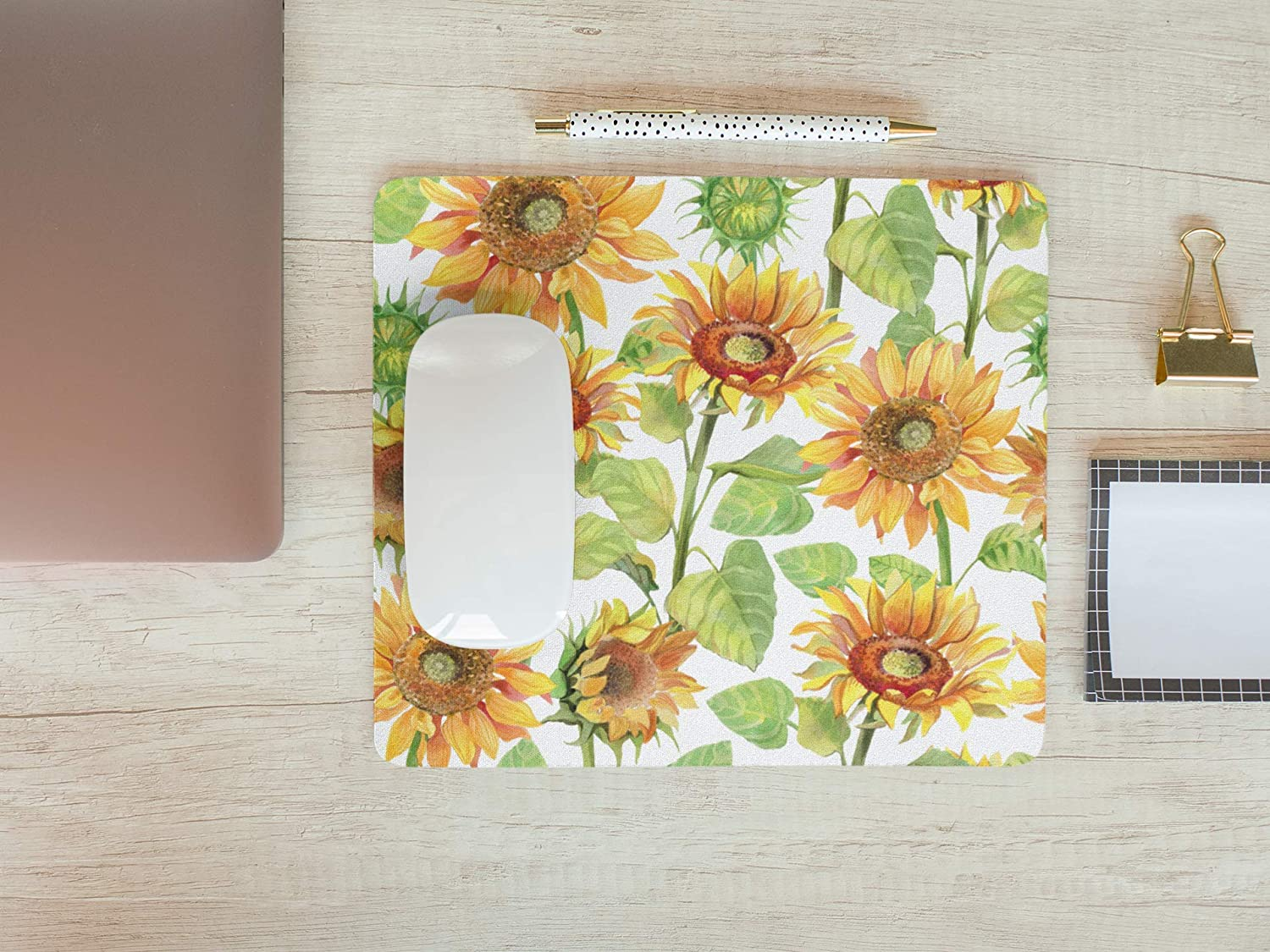 Sunflowers Mouse Pad Floral Mousepad Womens Desk Accessories Office Supplies Cute Yellow Stylish Gift for Coworker Boss A685