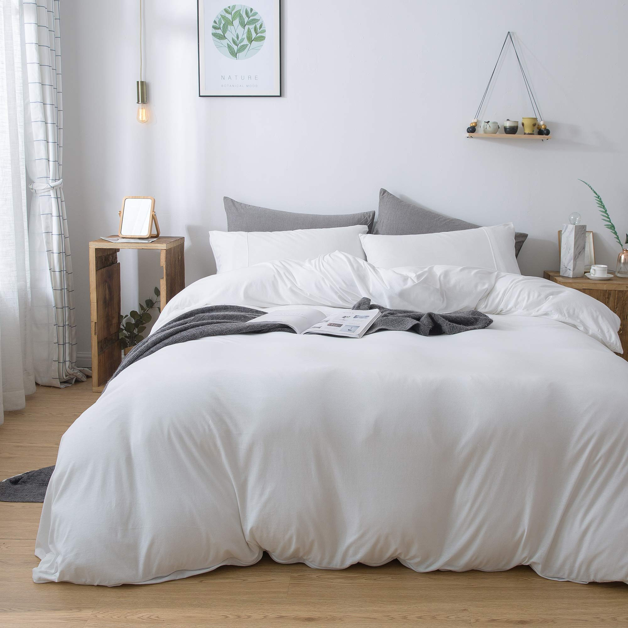Household 100% Cotton Jersey Knit Duvet Cover Comfortable, Super Soft Includes 2 Pillowcase (White King