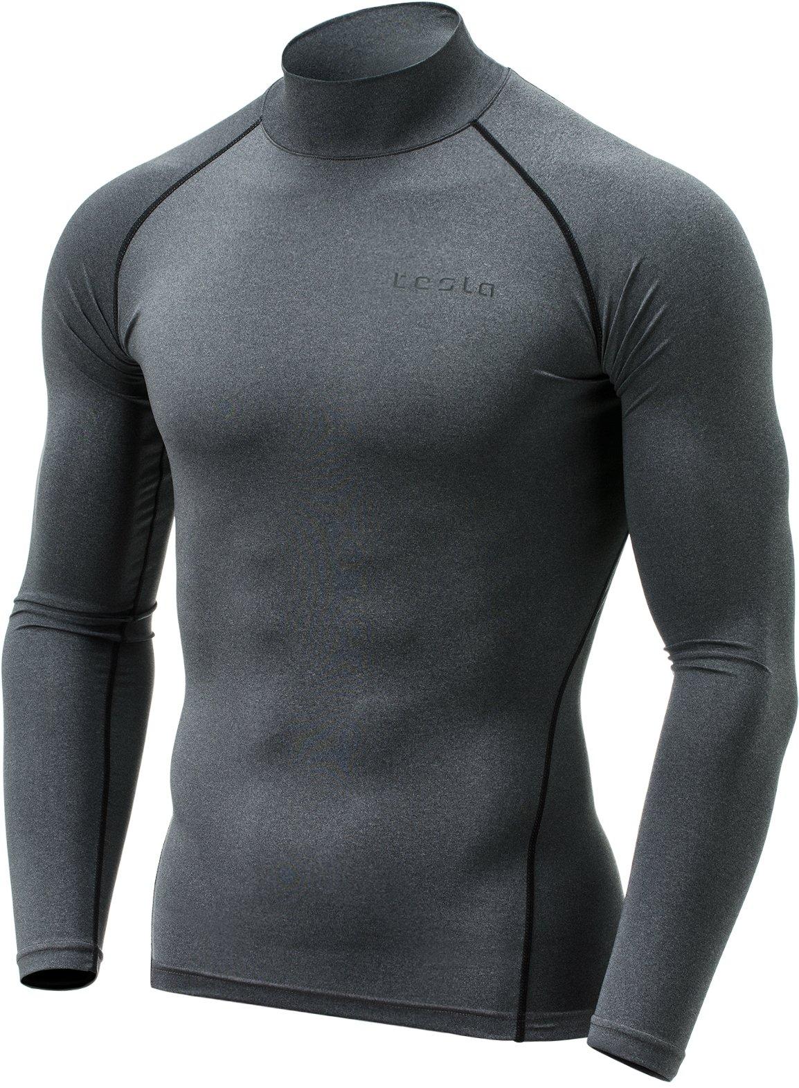 Tesla TM-MUT02-ZDG_Small Men's Mock Long-Sleeved T-Shirt Cool Dry Compression Baselayer MUT02