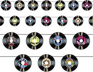 3 Packs Record Cutout Banner 1950's Rock and Roll Music Party Decorations Record Wall Decor Signs for 50's Theme Party Supplies Music Party Favors