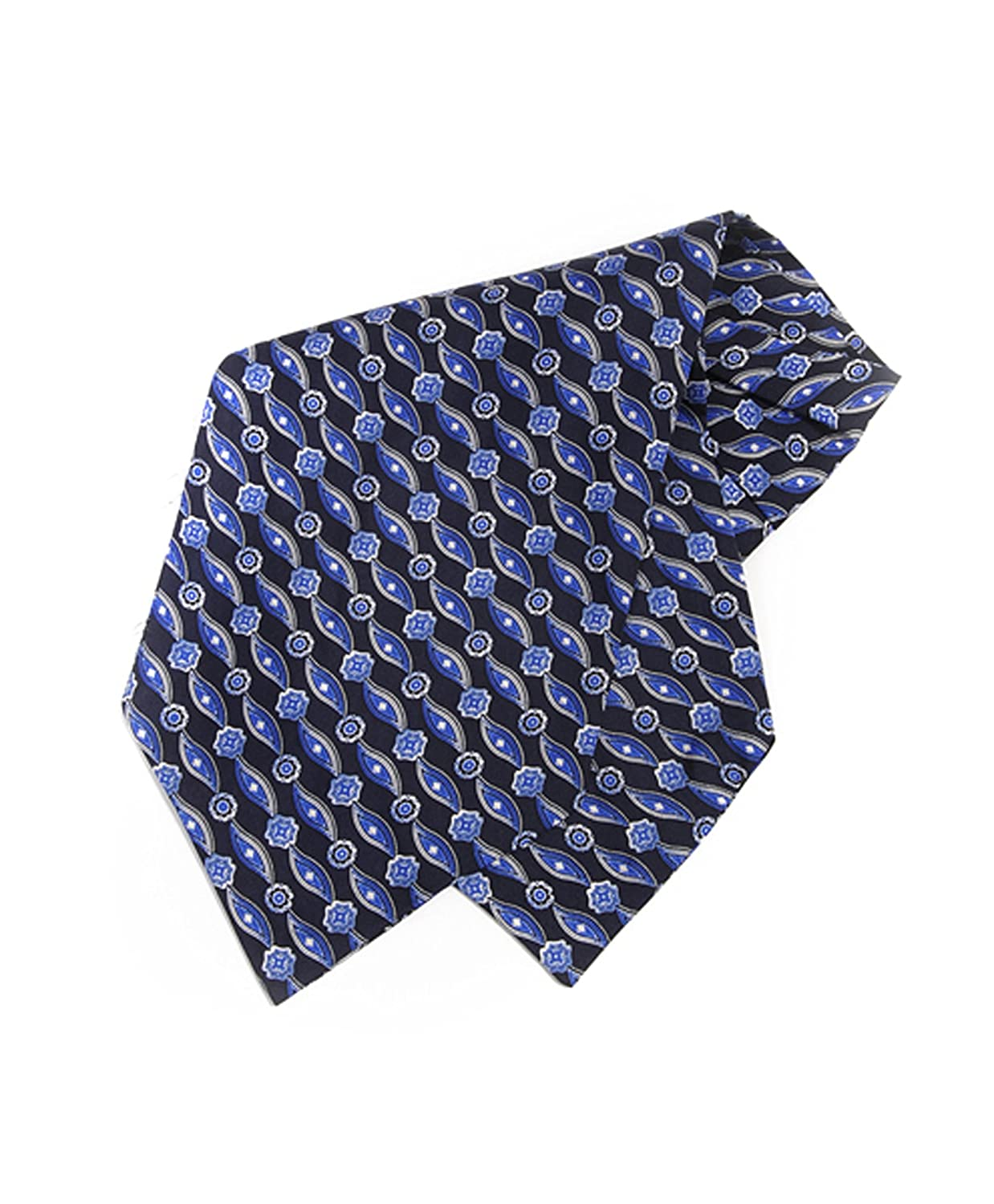 Men's Geometric Pattern Silk Printed Ascot Blue boxed-gifts
