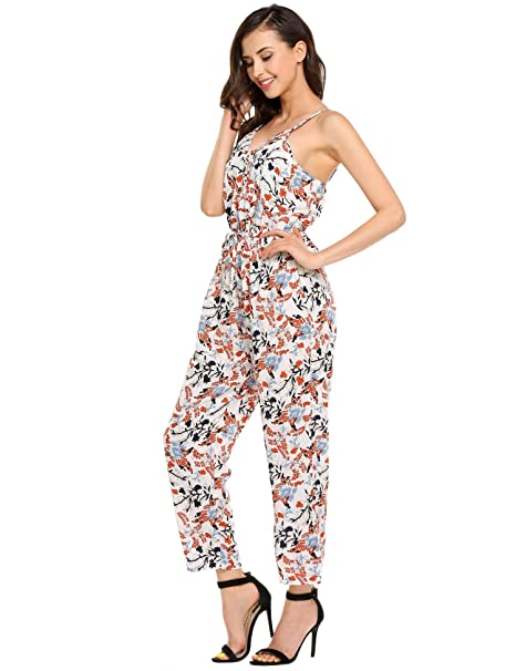81a94523e0df eshion Women Halter Sleeveless Cami Jumpsuit Floral Spaghetti Strap  Jumpsuit Romper Overall Small Raw White Off White  Amazon.in  Clothing    Accessories