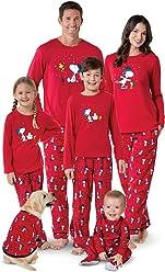 PajamaGram Snoopy & Woodstock Matching Family Pajamas, Red