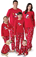PajamaGram Snoopy & Woodstock Matching Family Pajamas, Red