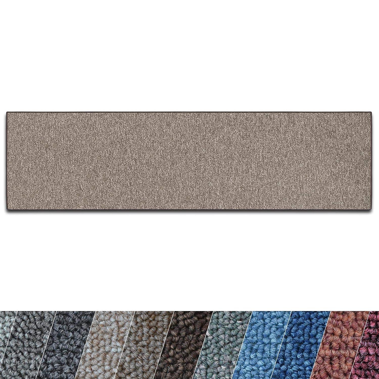 Casa pura Teppich Läufer London   Meterware   Teppichläufer für Wohnzimmer, Flur, Küche usw.   flacher Schlingenflor   mit Stufenmatten kombinierbar (Hellbraun - 80x800 cm)