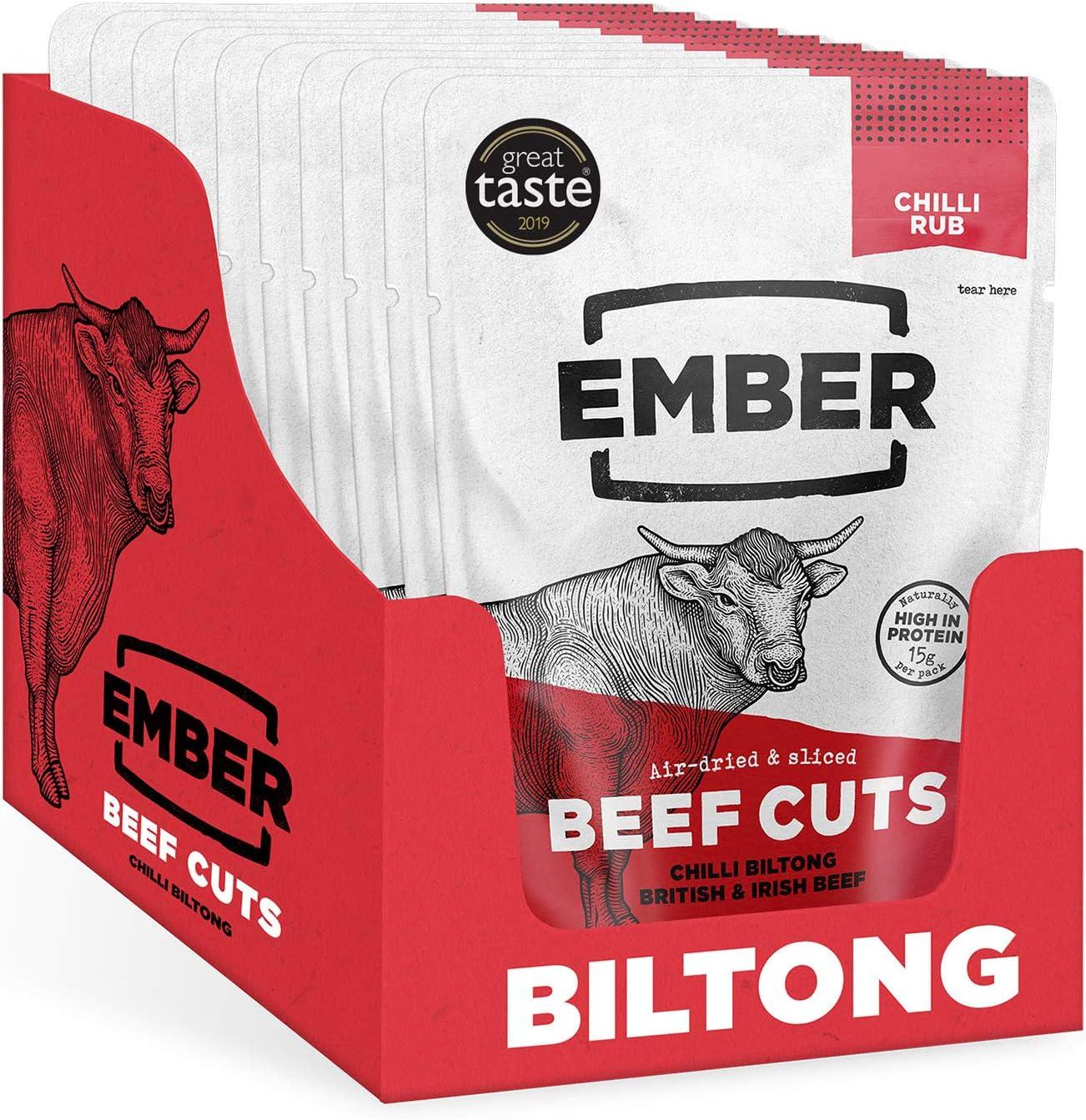Ember Biltong - Carne Secca Beef Jerky Chili - Snack Proteico Tascabile, Senza Zuccheri Aggiunti - Gusto Chilli (10 Pacco)