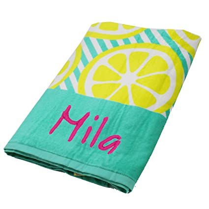 Personalized Beach Towels Monogrammed Gifts For Kids Her Him Custom Embroidered Towel Lemons