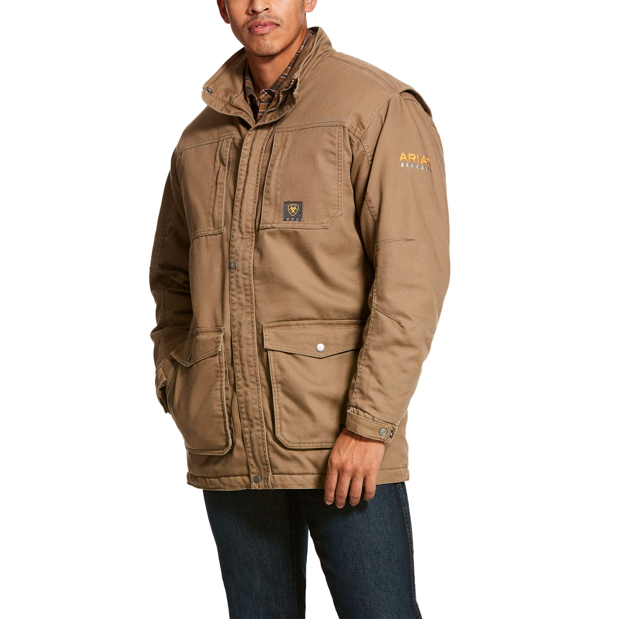 ARIAT Men's Rebar Washed Duracanvas Insulated Coat Field Khaki Size Large by ARIAT