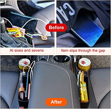 Coin,Wallets STEPIN Car Seat Gap Filler with USB Charging,Cup Holder Box,Multifunctional Car Seat Organizer for Cellphones Keys 2 Pack, Black