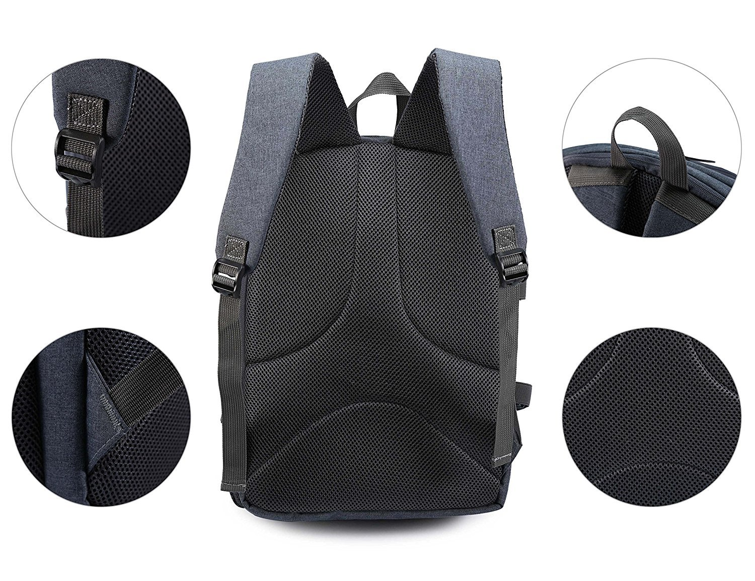 Camera Backpack Waterproof Nylon DSLR Backpack Professional Camera Bag with USB External Charging Port for Canon Nikon Sony Camera Accessories and Laptops Tablets Black (Gray) by Cozyvie (Image #6)
