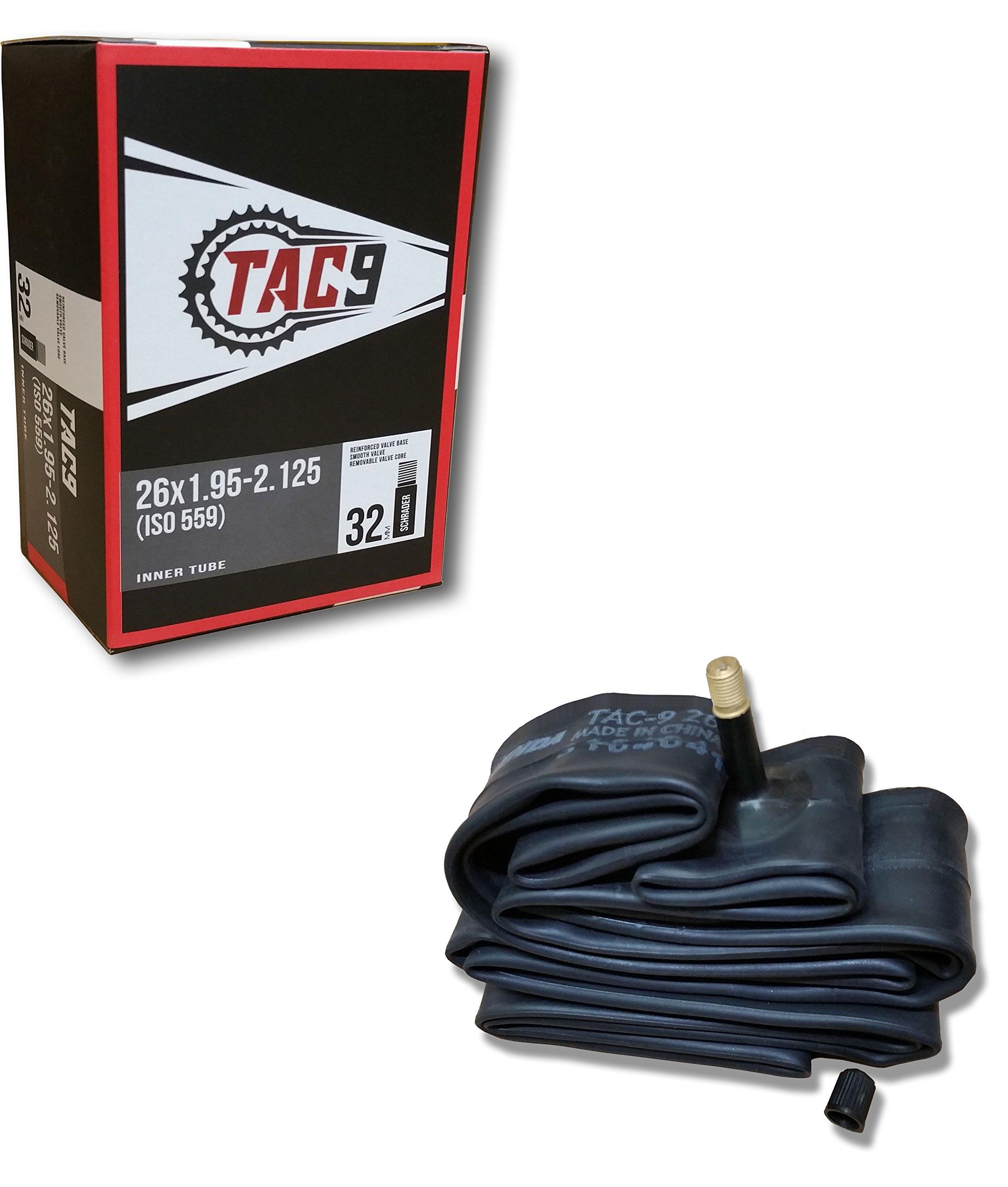 TAC 9 Bike Tubes, 26 x 1.95-2.125'' Regular Valve 32mm - ONE Tube ONLY Bundle