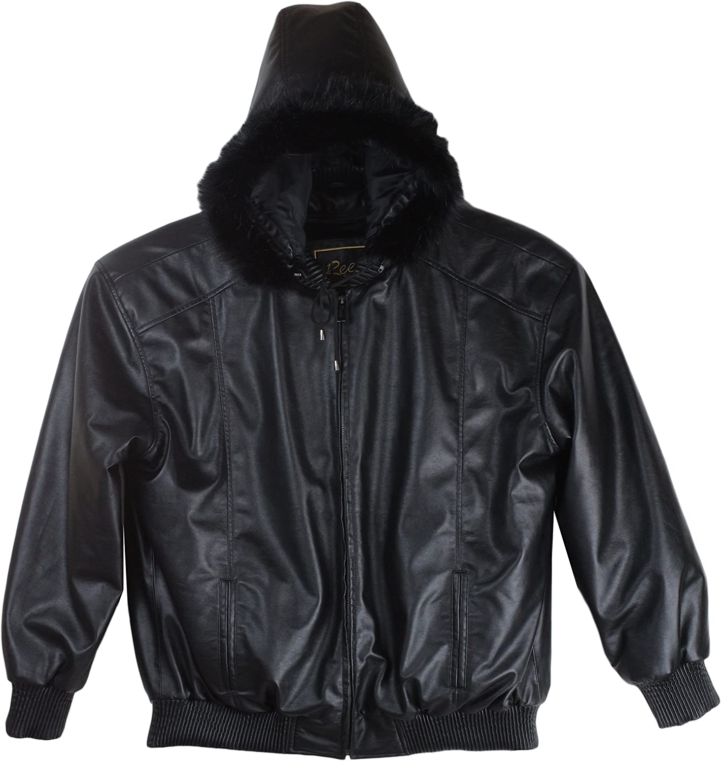 REED Mens Detachable Hooded Faux Fur Leather Bomber Jacket with Baseball Style Collar