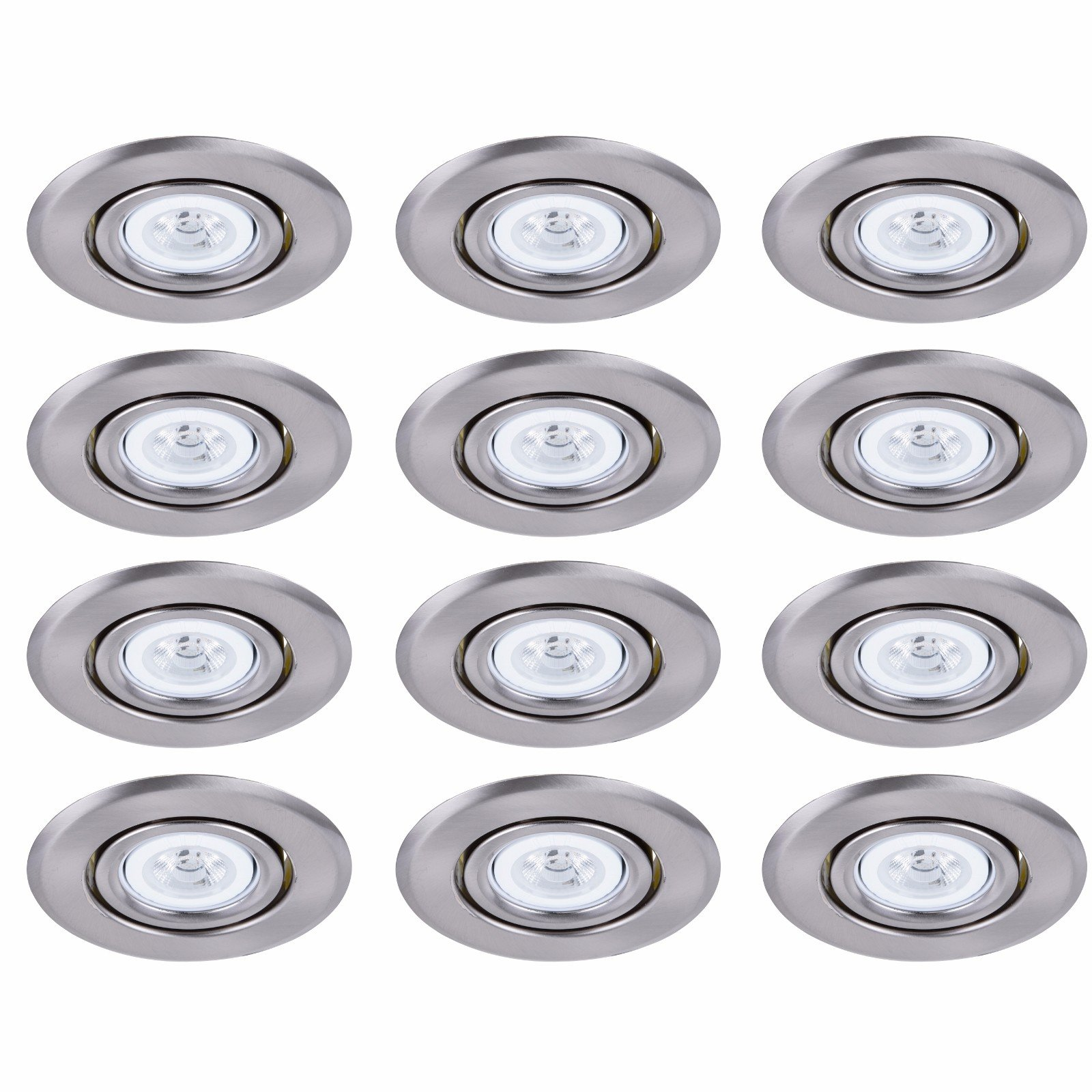 Elitco Lighting R4-489BN-12PK Recessed-Light-Fixture-Trims 4'' Brushed Nickel 35 Degree Adjustable with Gimbal Ring, fits PAR20/R20/E26 12 Pack