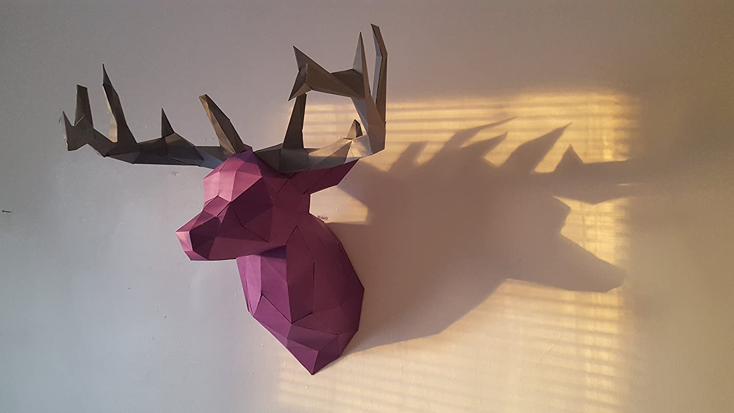 deer 3d papercraft KIT. Kit contains card stock paper template for this DIY (do it yourself) paper sculpture.