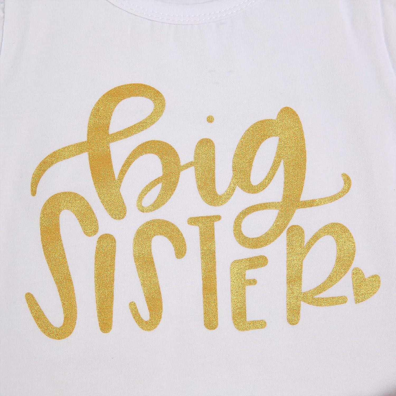 3Pcs Baby Girl Clothes Big//Little Sister Print Matching Tops Romper Pants Dress Headband Outfits