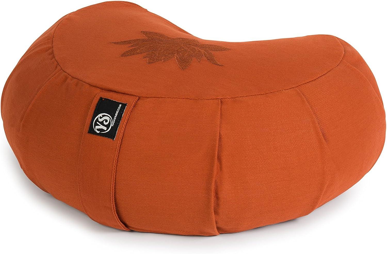 42 x 13 x 18 cm maniglia per il trasporto accessori per yoga scafi di grano saraceno Pouf da meditazione Yoga Studio Lotus Crescent Zafu con rivestimento in cotone
