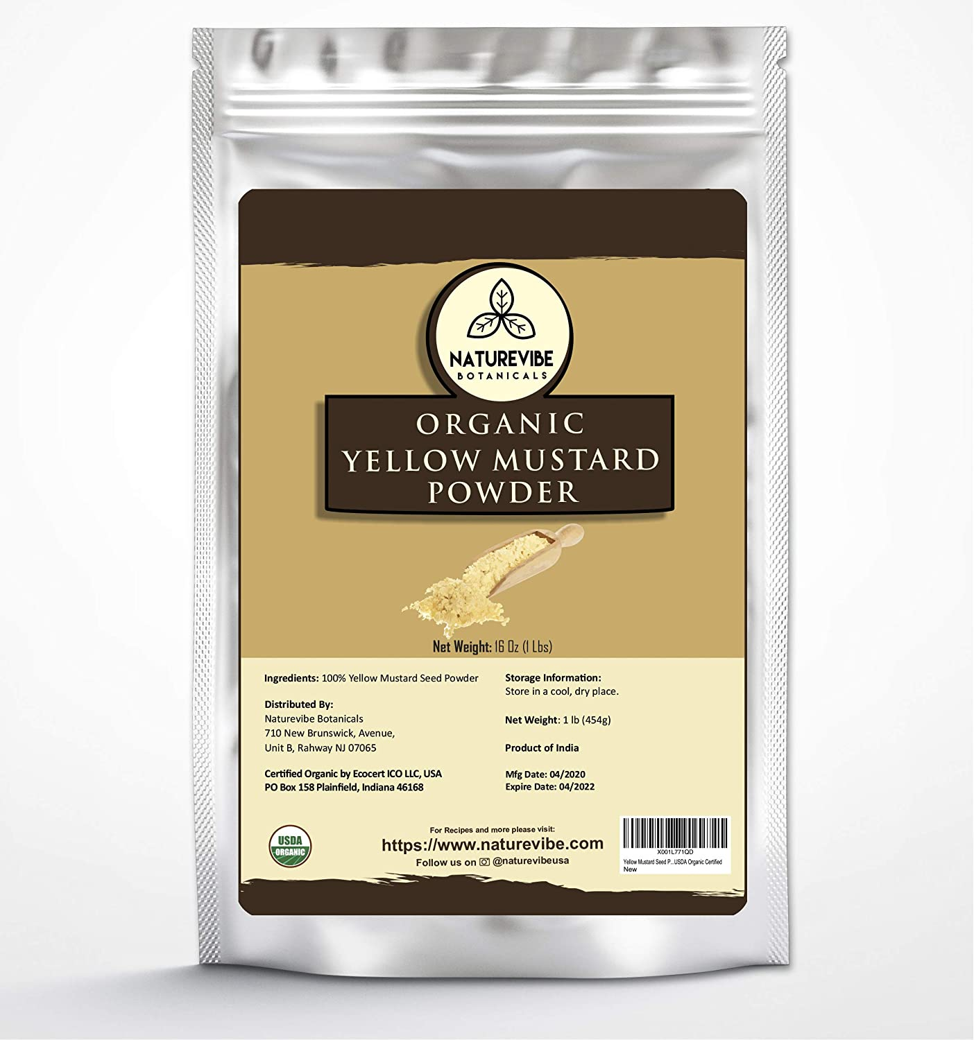 Amazon Com Naturevibe Botanicals Organic Yellow Mustard Seed Powder 1 Pound 100 Pure Natural Usda Organic Certified Adds Flavor Grocery Gourmet Food