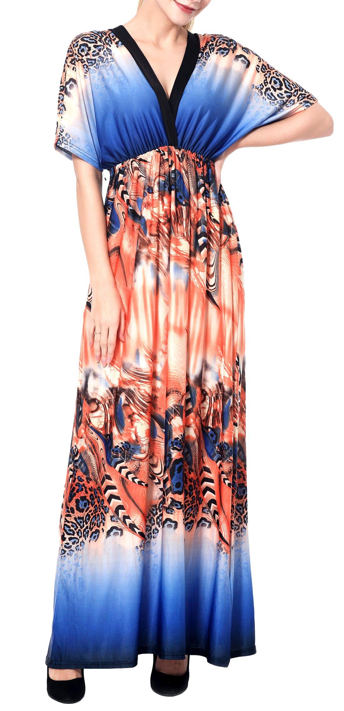 Wantdo Women's Deep V-Neck Maxi Dress Boho Style Backless Full Length Dresses Plus Size Sapphire Blue 3XL