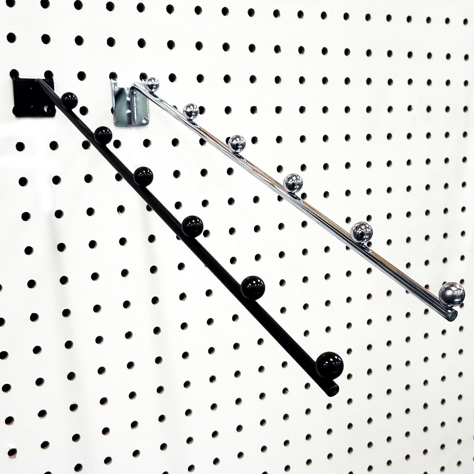 14'' L Pegboard 6 Ball Waterfall Faceout Hook, Black - 25 Pack
